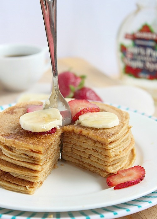 Vanilla Spiked Protein Pancakes - www.betterwithcake.com