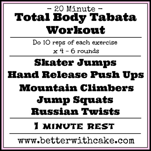 "A 20 Minute Total Body Tabata Workout & A Healthy ""Nuts"