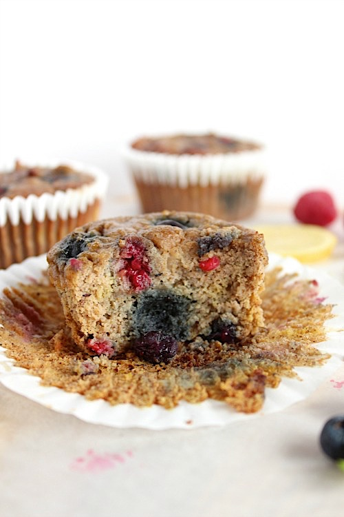 Deliciously Ugly Lemon-berry Muffins {Gluten Free, Grain Free & Paleo Friendly} - www.betterwithcake.com