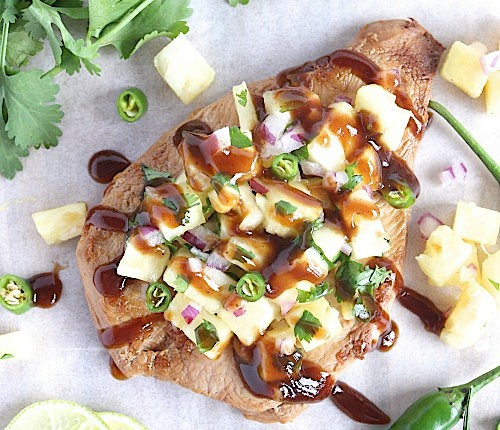 Healthy Homemade Teriyaki Chicken with Sweet and Spicy Pineapple Jalapeno' Salsa {Gluten Free & Paleo Friendly} - www.betterwithcake.com
