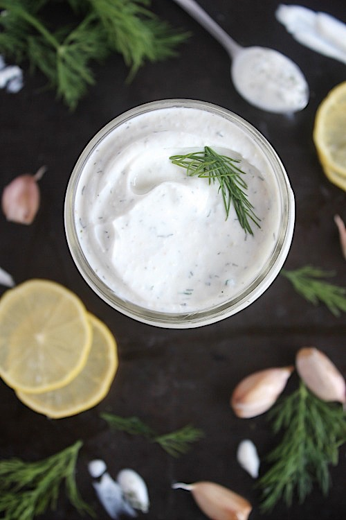 Creamy, 2 Minute, Garlic and Dill Dressing {Vegan, Gluten Free & Paleo Friendly} - www.betterwithcake.com