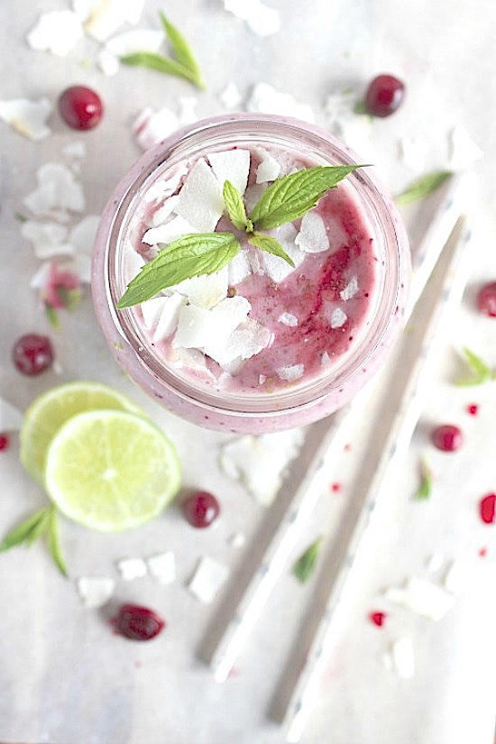 Cranberry, Pineapple, Mint & Lime Smoothie {Vegan, Gluten Free & Paleo Friendly} - www.betterwithcake.com