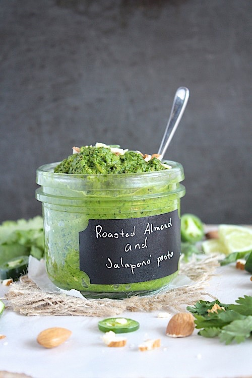 Roasted Almond & Jalapeno' Pesto {Vegan, Gluten Free & Paleo Friendly} - www.betterwithcake.com