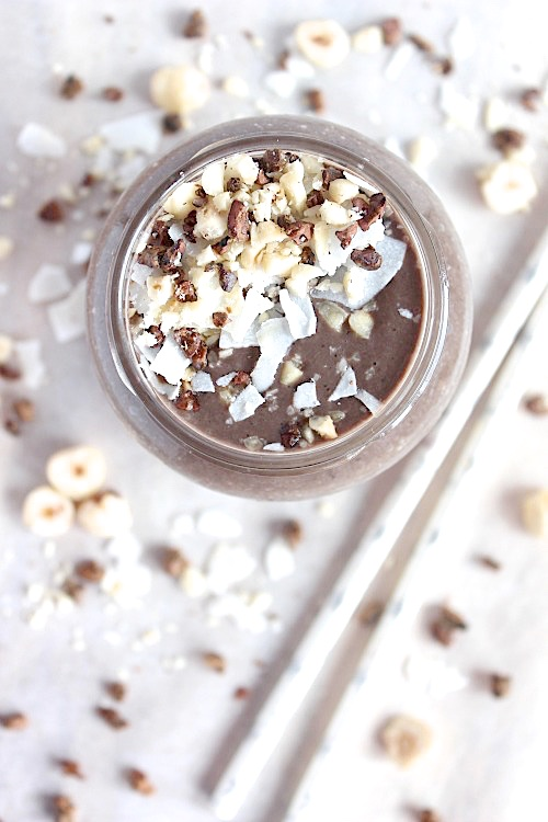 Chocolate Hazelnut Cream Smoothie {Vegan. Gluten Free & Paleo Friendly} - www.betterwithcake.com
