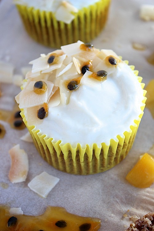 Mango and Passionfruit Muffins with Coconut Yogurt Frosting - {Gluten Free, Grain Free & Paleo Friendly} - www.betterwithcake.com