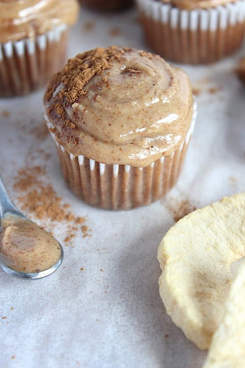 Apple & Cinnamon Mini Muffins with Maple-Vanilla Almond Butter Frosting {Low carb, Grain Free & Paleo Friendly} - www.betterwithcake.com