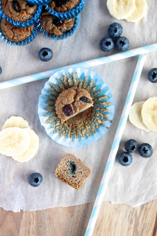 Blueberry and Banana Mini Muffins {Paleo Friendly}