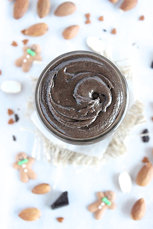 Healthy, Homemade Dark Chocolate Gingerbread Almond Butter {Vegan, Gluten Free & Paleo Friendly} - www.betterwithcake.com