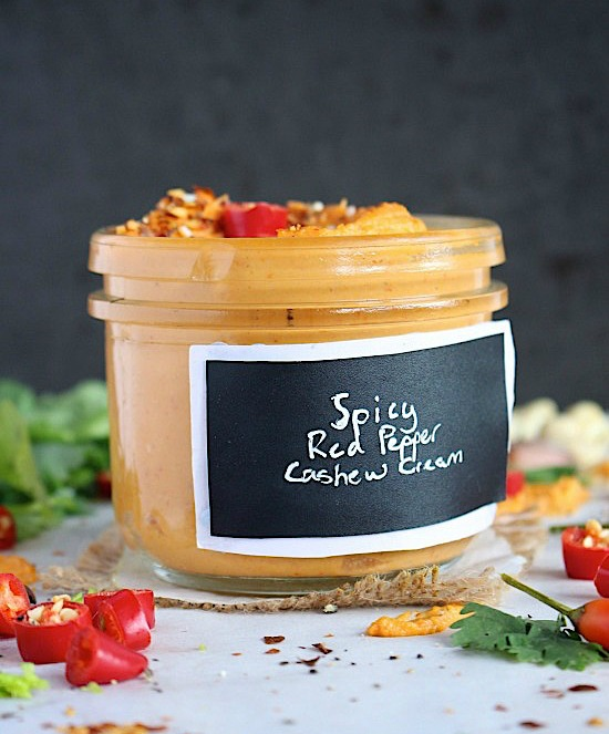 Spicy, Roasted Garlic and Char-grilled Red Pepper Cashew Cream {Vegan, Gluten Free, Dairy Free, Keto, Paleo, Whole30 Friendly} - www.betterwithcake.com