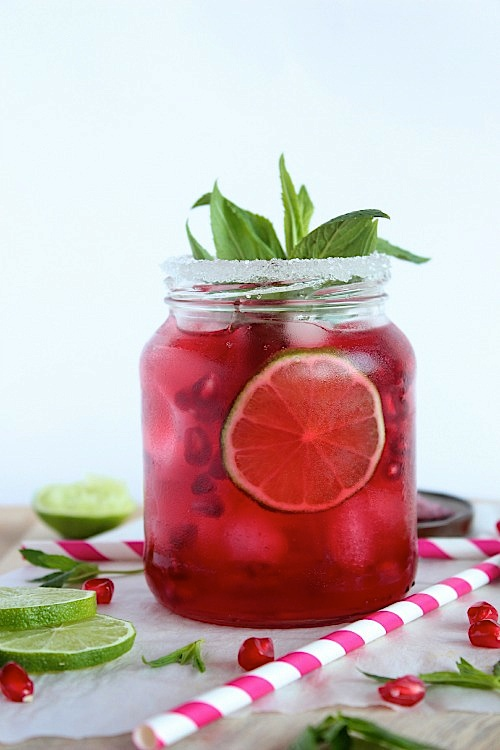 my latest obsession cranberry pomegranate mint and lime iced tea