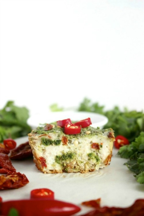 Spicy, Pesto & Sun-dried Tomato Meatloaf Muffins - www.betterwithcake.com