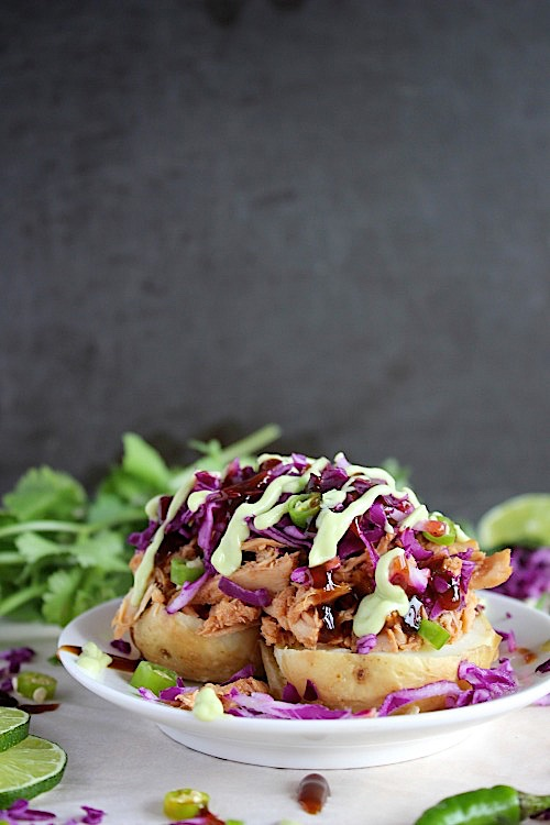BBQ Chicken Green Chili Loaded Baked Potatoes {Gluten Free & Paleo Friendly} - www.betterwithcake.com