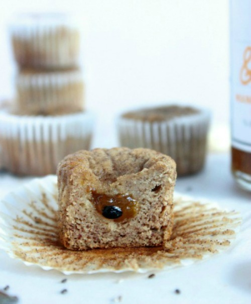 Mango, Passionfruit & Chia Jam Filled Banana Muffins {Low Carb, Grain Free & Paleo Friendly} - www.betterwithcake.com