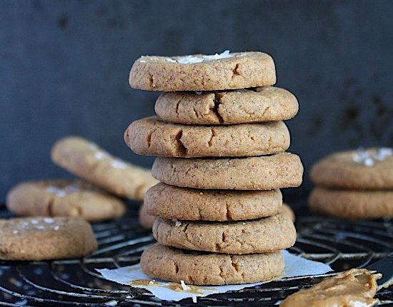 3 Ingredient Flourless Salted Peanut Butter Cookies {Gluten Free - Dairy Free - Low Carb - Keto - Vegan - Paleo Friendly} - www.betterwithcake.com