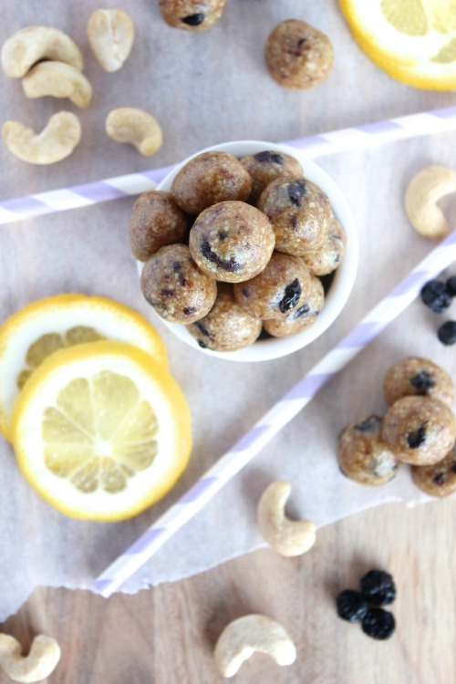Lemon and Blueberry Energy Bites - Vegan, Dairy Free & Paleo Friendly - www.betterwithcake.com