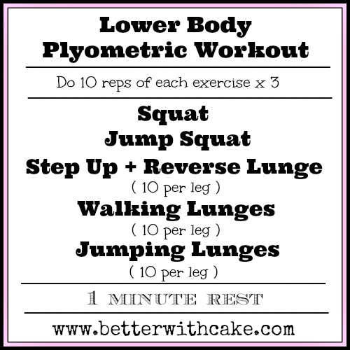 20 Minute Lower Body Plyo Workout Www Betterwithcake Com