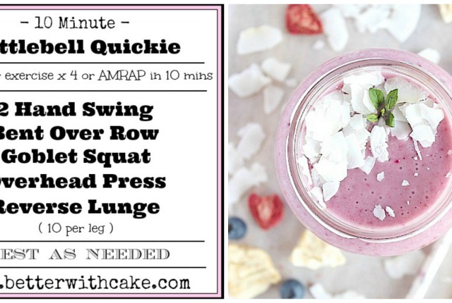 10 Minute Kettlebell Quickie & A {ineaple Ginger-berry Smoothie {Vegan, Gluten Free & Paleo Friendly} - www.betterwithcake.com http://betterwithcake.com/desserts/fit-friday-fun-10-minute-total-body-quickie-workout-a-bonus-pineapple-ginger-berry-smoothie/