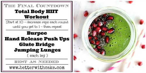 """The Final Countdown"" A 15 Minute {No Equipment} Total Body HIIT Workout & A Energizing Green Apple Super Smoothie {Vegan, Gluten Free & Paleo Friendly} - www.betterwithcake.com"