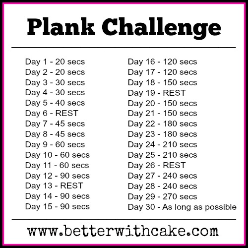 Fit Friday Fun The Plank Challenge Better With Cake