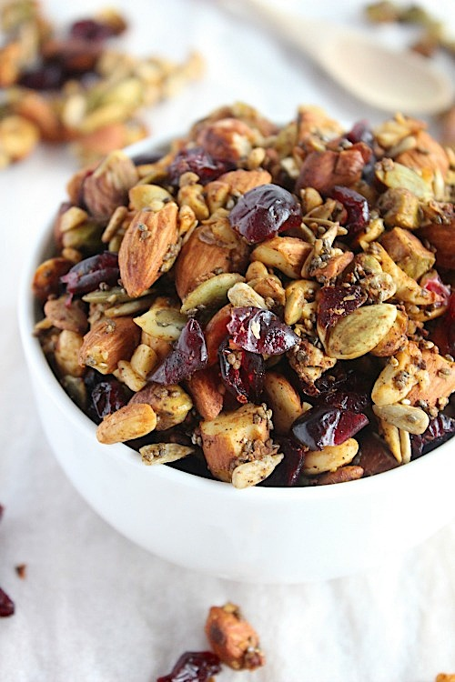 Pumpkin & Cranberry Grain Free Granola {Vegan, Gluten Free & Paleo Friendly} - www.betterwithcake.com