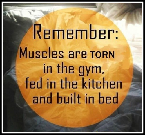 Muscles are torn in the gym, fed in the kitchen and built in the bed - www.betterwithcake.com