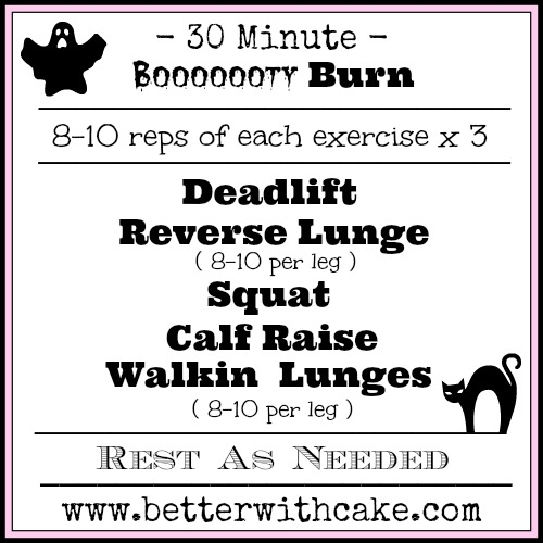 30 Minute Halloween Inspired Lower Body Booty Burning Workout - www.betterwithcake.com
